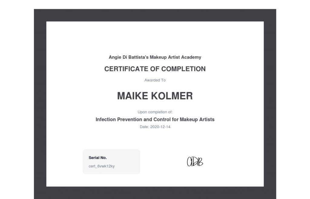 Bild vom Certificate für Infection Prävention and Control for Make up Artists