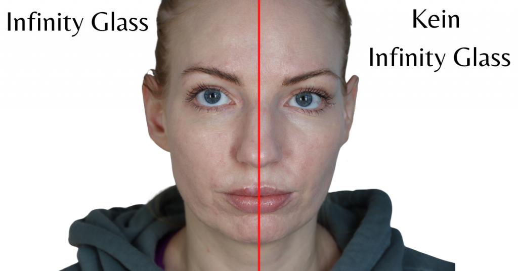 Bild von Linda Hallberg Infinity Glass auf der Linken Seite mit Make Up